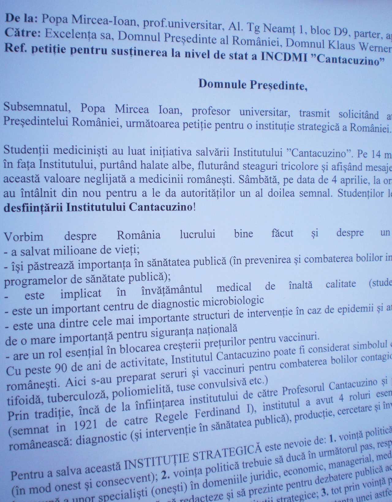Petițiie Președinție pentru susținere la nivel de stat a Institutului Cantacuzino